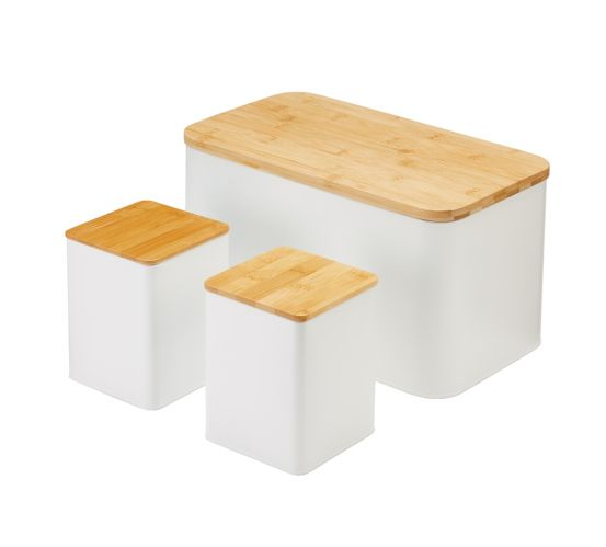 type A Engrained Bread Box & Canister Set, 3-pc
