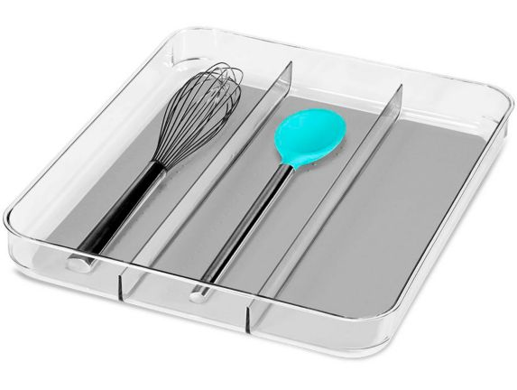 madesmart® Clear Soft-Grip 3-Compartment Utensil Tray, Large