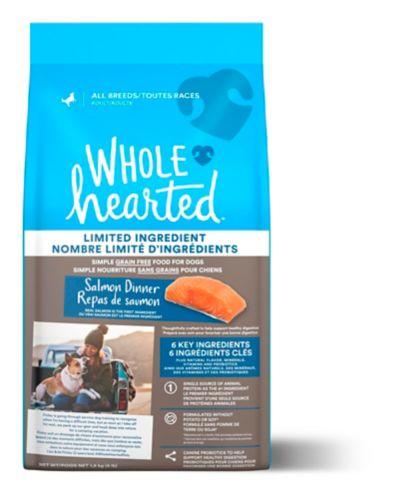 Nourriture sèche pour chiens à tous les stades de vie de toutes races WholeHearted sans grains à nombre limité d'ingrédients, repas de saumon, 1,81 kg