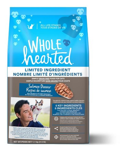 WholeHearted Grain Free Limited Ingredient Salmon Recipe Dry Cat Food for All Life Stages, 1.13-kg Product image