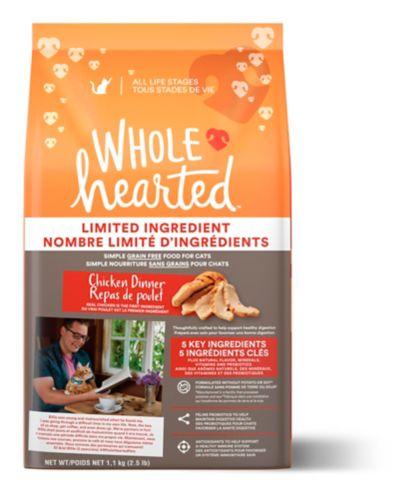 Nourriture sèche pour chats de tous les stades de vie WholeHearted sans grain à nombre limité d'ingrédients, repas de poulet, 1,13 kg