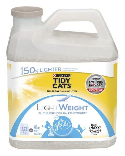 Litière agglomérante Poids Plume Purina Tidy Cats avec parfum Glade Source Pure, 2,72 kg