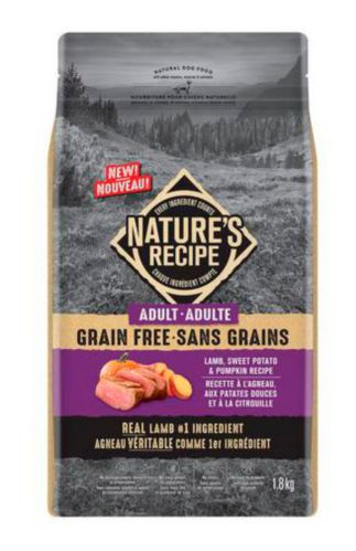 Nature's Recipe Grain-Free Adult Lamb, Sweet Potato & Pumpkin Recipe Dry Dog Food, 1.8-kg