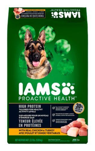 Nourriture sèche pour chiens adultes avec poulet et dinde véritables IAMS Proactive Health Teneur élevée en protéines, 9,98 kg