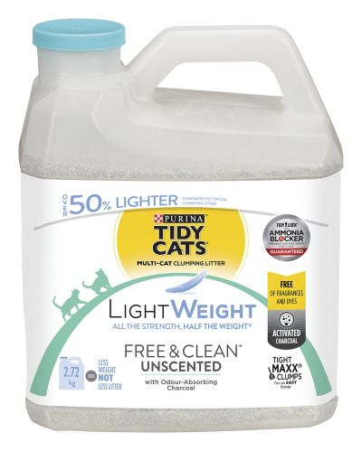 Purina® Tidy Cats® Lightweight Free & Clean Unscented Clumping Cat Litter, 2.72-kg