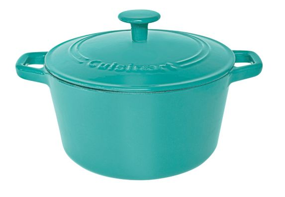 Cuisinart Round Covered Cast Iron Casserole Dish, Turquoise