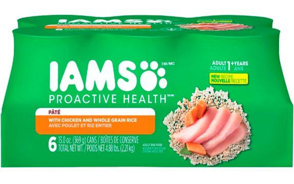 Nourriture humide pour chiens IAMS PROACTIVE HEALTH, poulet et riz, 369 g, paq. 6
