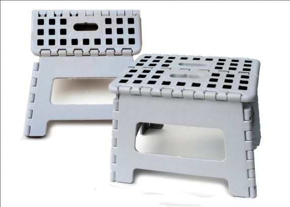 Folding Step Stool, White