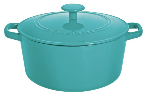 Cuisinart Round Cast Iron Casserole Dish, Turquoise, 5-qt