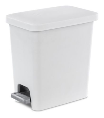 Sterilite Ultra™ Step-On Wastebasket Trash Can, White, 9.8-L