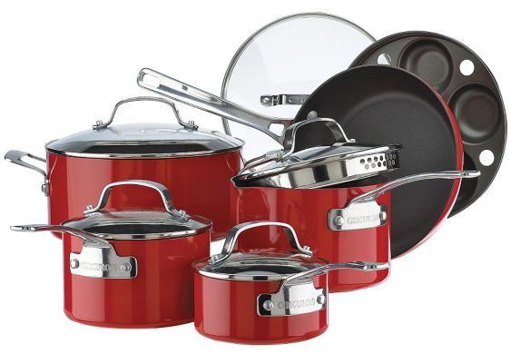 Circulon Non-Stick Cookware Set, Red, 11-pc