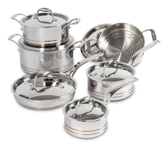 Lagostina 5-Ply Copper-Clad Cookware Set, 12-pc Product image