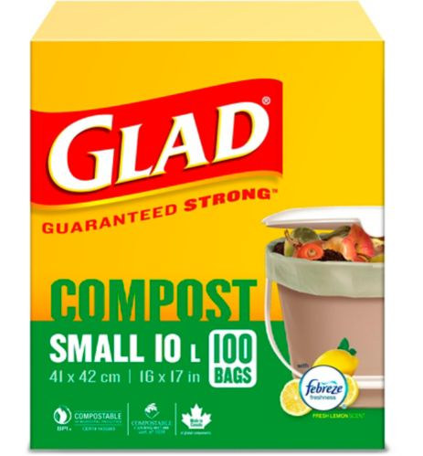 Glad 100% Compostable Bags - Small 10 Litres - Lemon Scent, 100 Compost Bags