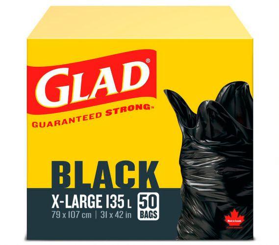 Glad X-Large Garbage Bags, Black, 135-L, 50-pk Product image