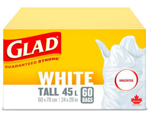 Glad Tall Indoor Garbage Bags, White, 45-L, 60 pk Product image