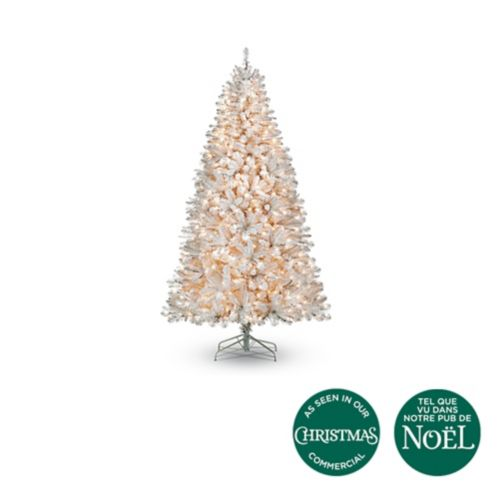 NOMA Pre-Lit Claremont White Pine Christmas Tree, 7-ft