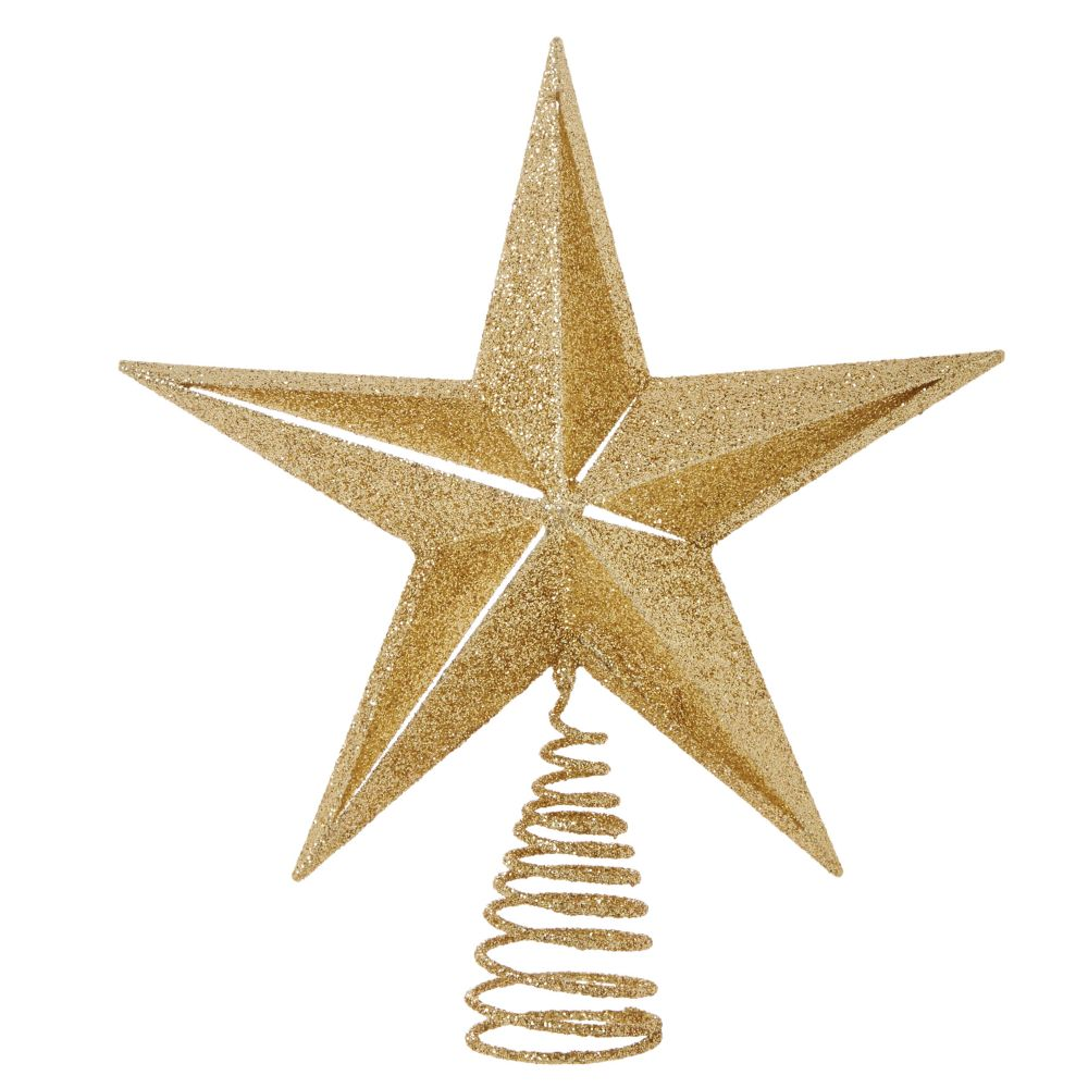 For Living Gold Glitter Star Tree Topper, 12-in