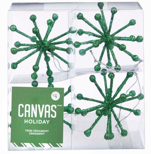 CANVAS Green Glitter Sputnik Ornaments, 4-pk
