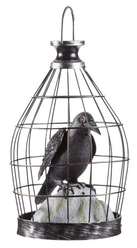Animated Caged Crow Décor