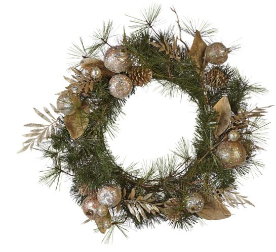 CANVAS Decorative Holiday Mixed Wreath, 24-in