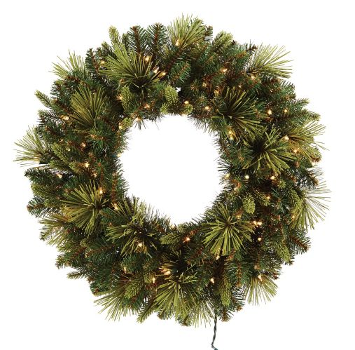 NOMA Flocked Pre-Lit Wreath, 30-in Product image