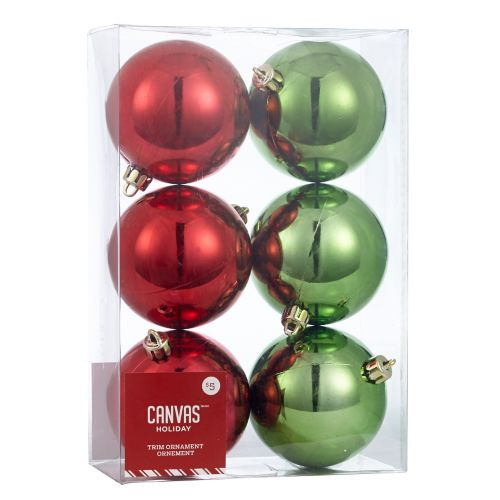 Christmas Tree Store Erie Pa: CANVAS Red Shatterproof Ball Ornaments, Assorted, 6-pk
