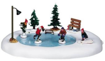 Christmas Village Ice Skating Rink.Lemax Christmas Village Animated Hockey Skating Rink Scene