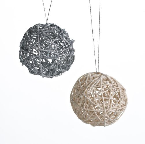 CANVAS Silver Collection Vine Ball Ornament, Assorted, 3.75-in