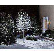 Arbre à fil métallique en fibre optique lumineux CANVAS, blanc, 480 DEL, 8 pi