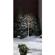 CANVAS Birch Tree with Pre-Lit LED Christmas Lights, 160-count, 8-ft