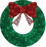 CANVAS LED Green Glittering Wreath, 140-Count, 3-ft | CANVAS