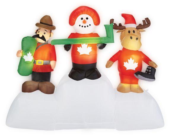 Pre-Lit Mounty/Snowman/Moose Scene Inflatable, 5-ft