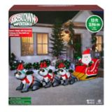 GEMMY Inflatable Wide Santa Sleigh with Racoons, 12.5-ft | Gemmynull