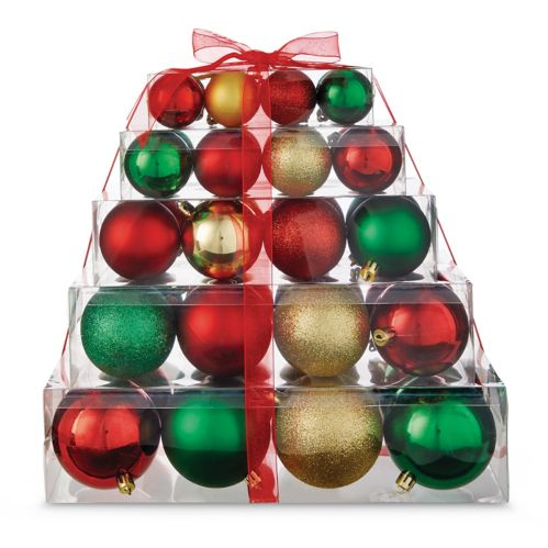 For Living Red Stacked Gift Ball Ornament Set, Assorted, 40-pk Product image