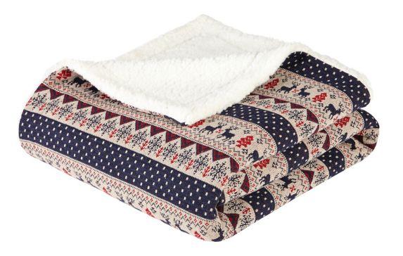 Village Print Sherpa Throw Blanket