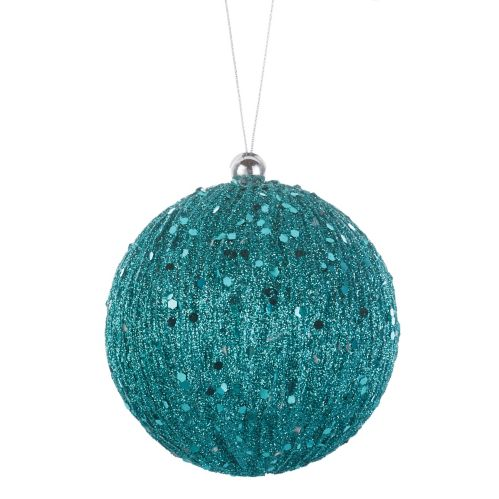 CANVAS Blue Glitter Plastic Ball Ornament, 80-mm
