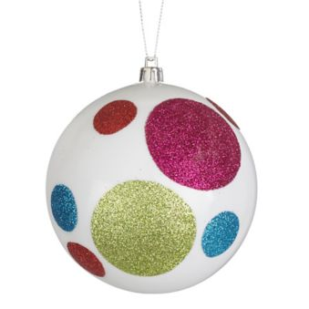 Canvas Brights Large Polka Dot Glitter Ball Ornament 100 Mm Canadian Tire