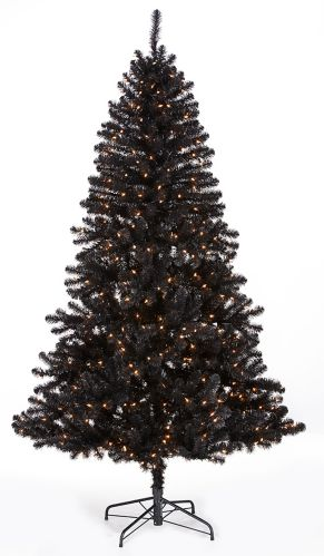 NOMA Alaskan Pre-Lit Black Christmas Tree, 7-ft