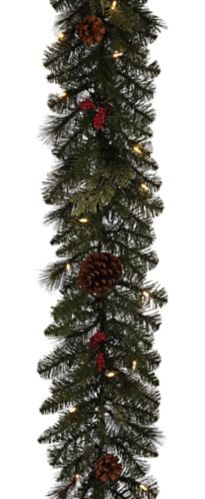 NOMA Preston Pre-Lit Berries and Pinecones Garland, 9-ft Product image