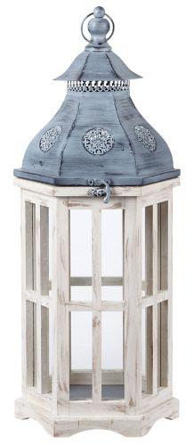 CANVAS Hexagon Tin Lantern, White, 18-in Product image