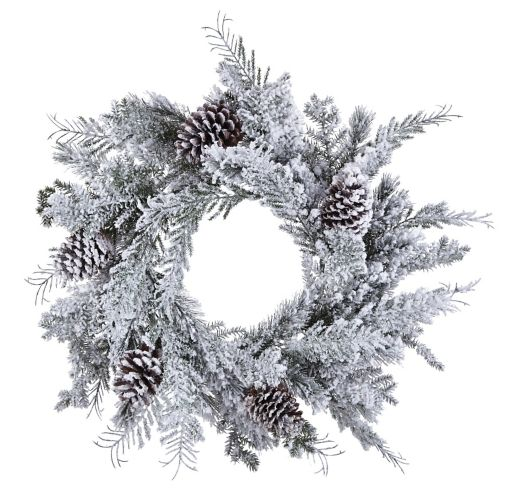 CANVAS Flocked Mixed Greenery Wreath, 24-in