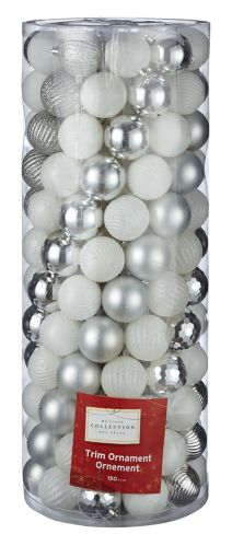 For Living Silver Mixed Metallic Ornament Set, 60-mm, 150-pk Product image