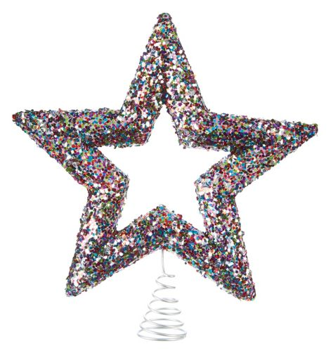Sequin Star Tree Topper, Brights, 12.5-in