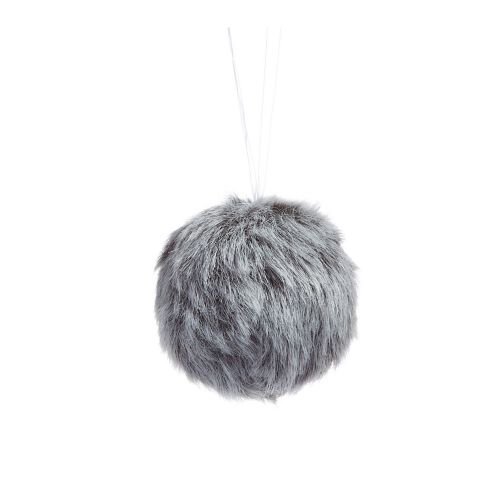 CANVAS White Fur Ball Ornament, Assorted, 4-in