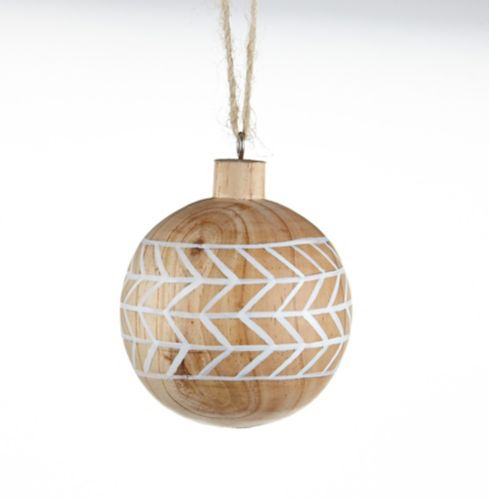 Boule peinte en bois CANVAS Collection, blanc, varié, 4 po