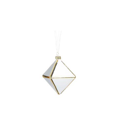 Ornement de formes géométriques en verre CANVAS Collection, blanc, varié, 4 po