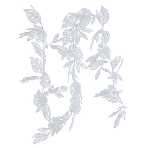CANVAS White Collection Glitter Leaf Garland, 6-ft
