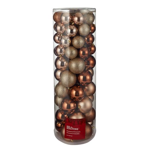 For Living Unbreakable Ornament Set, Mixed Size, Gold, 80-pc