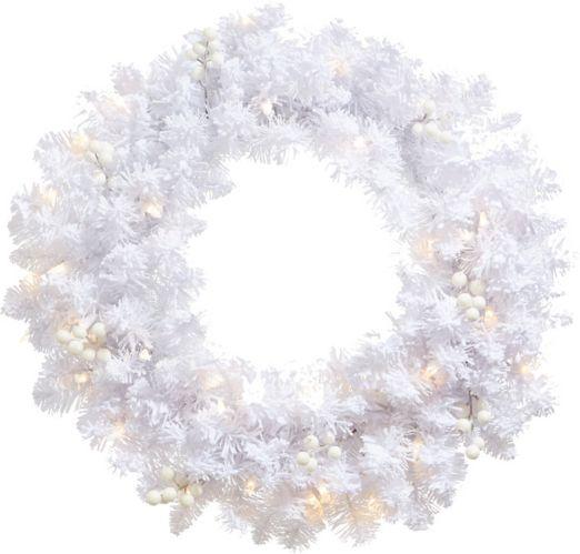 NOMA Pre-lit White Flocked Wreath, 24-in