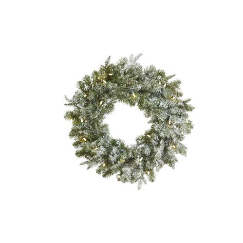CANVAS Pre-Lit Lifelike Frosted Fir Wreath, 24-in Product image